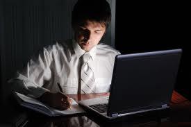 men working late